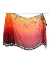 Floral Print Ombre Saree With Geometric Print Blouse - Saraswati