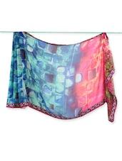Blue & Pink Geometric Print Georgette Saree - Saraswati