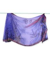 Blue Floral Print Georgette Saree - Saraswati