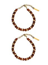 Brown And Gold Metal Alloy Anklet (set Of 2) - By