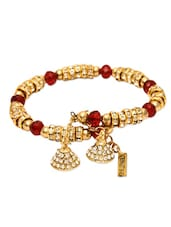 Gold Metal Alloy Crystal Studded Bracelet (set Of 2) - By