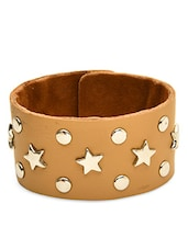Beige Faux Leather Bracelet - By