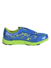 Blue-Neon Green Mesh Lace-Up Sports Shoe - Sparx