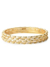Golden Synthetic Pearl Embellished Bangles (Set Of 4) - Bo'bell