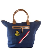 Navy Blue Tote Bag With Brown Handles - HARP