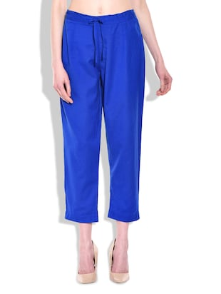 Royal Blue Linen Casual Trousers