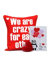 Charming Pack Of Tenderness With Greeting Card N Red Heart Shape Soft Toy Gift For Valentine - By