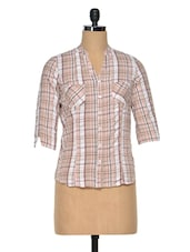 Beige & White Cotton Check Shirt - Meira