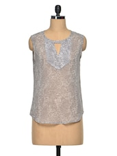 Grey Poly Georgette Printed Sheer Sleeveless Top - Meira
