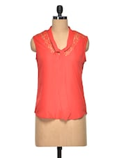Red Poly Crepe & Lace Sleeveless Top - Meira