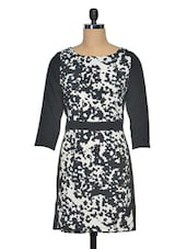 Black & White Printed Poly Crepe 3/4th Sleeves Dress - Meira