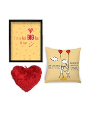 Multicolor Velvet Cushion With Cushion Cover And Wall Art Combo - By - 9881515