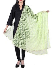 Net Self Design Zari Work Bordered Dupatta - By