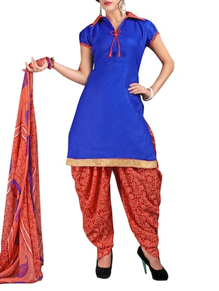 Blue Cotton Patiyala Dress material. -  online shopping for Unstitched Suits