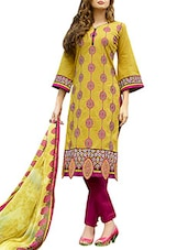 Mustard Poly Cotton Kameez With Straight  Salwar - By