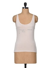 Light Pink Quoted Sleeveless Top - Feyona