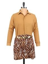 Solid Full Sleeves Shirt With Animal Print Skirt - Ira Soleil