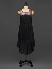 Black Georgette Dress With Copper Sequins - Rose Vanessa