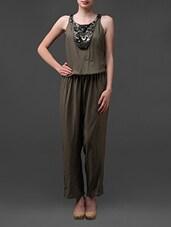 Olive Green Embellished Jumpsuit - Rose Vanessa