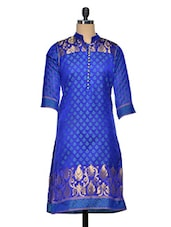 Blue Banarsi Chanderi Silk  Kurti - Golden Peacok