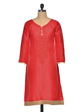Red Cotton Silk Embroidered Kurti - Golden Peacok