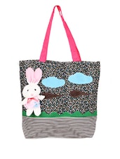 Printed Canvas Tote Bag With A Teddy Attached - KaryB