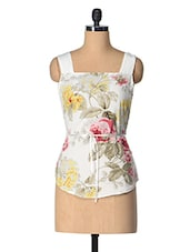 White Floral Print Sleeveless Top - Tops And Tunics