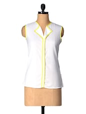 White Polyester Top With Yellow Piping - Tops And Tunics