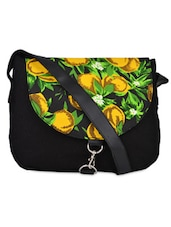 Printed Black Casual Canvas Sling Bag - Crafts My Dream