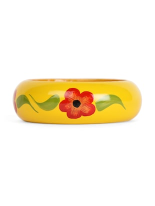 Yellow floral print bangle