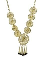 Metal Alloy With Black Beads Necklace - Supriya