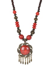 Red & Golden Beaded Neckpiece With Pendant - Art Mannia