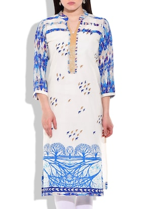 Cream- blue colored Cotton Printed kurta