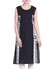Black & White Cotton Kurti - By