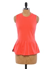 Peach Sleeveless Peplum Top - By