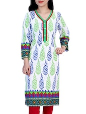 Blue, Light Green Cotton Long  Kurta - By