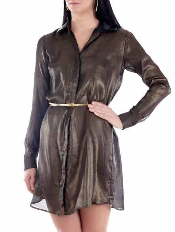 Metallic Brown Shirt Dress - Fuziv