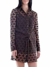 Mocha Brown Net Shirt Dress - Fuziv