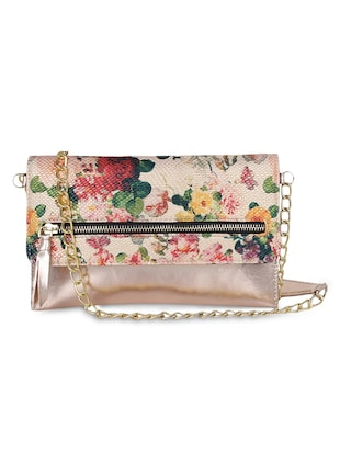 Gold floral Leatherette bag