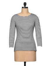 Black & White Striped Long Sleeve Cotton Jersey Top - BLUEBERY D C