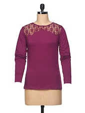 Plain Wine Long Sleeve Cotton Jersey Top With Lace Yoke - BLUEBERY D C