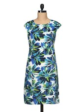 Floral Print Short Sleeve Round Neck Knee Length Dress - BLUEBERY D C