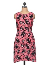 Floral Print Sleeveless Round Neck Dress - BLUEBERY D C