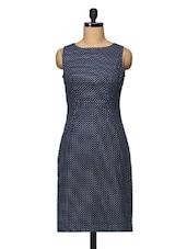 Polka Dot Sleeveless Boat Neck Knee Length Dress - BLUEBERY D C