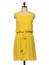 Plain Yellow Round Neck Sleeveless Georgette Dress - BLUEBERY D C