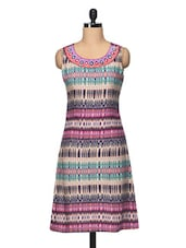 Printed Sleeveless Shift Dress With Embroidered Neck - BLUEBERY D C