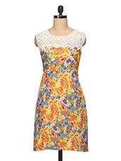 Floral Print Lace Yoke Sleeveless Georgette Dress - BLUEBERY D C