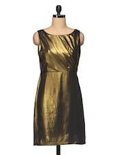 Plain Golden Boat Neck Sleeveless Short Dress - BLUEBERY D C