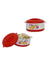 Red  Insulated  Multi Floral Printed Vacuum Flask - Stand Max