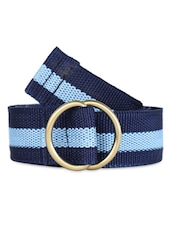 Striped Blue Canvas Belt With Metallic Loop - Moac
